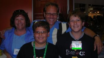 Karen and sons Brian and Erik Gurley with Alton Brown