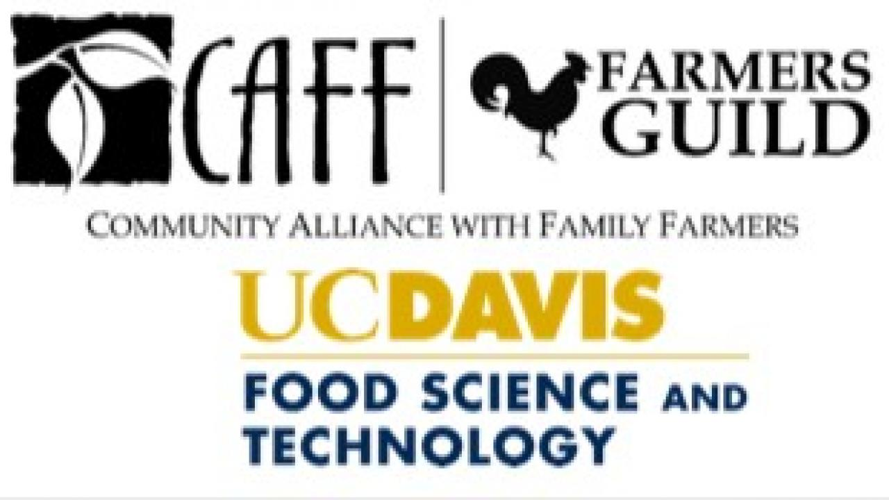 CAFF, Farmer's Guild, and UC Davis FST logos
